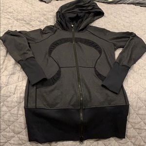 Dark grey workout jacket with hood